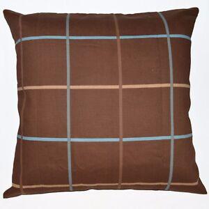 LL314a Brown Aqua Square Pure Cotton Canvas Fabric Cushion Cover/Pillow Case