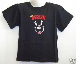 Kinder T-shirt bestickt * Berlin Bär schwarz 86 bis 128
