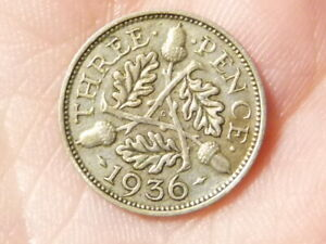 1936 Threepence Silver 3d George V   #M56
