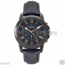 Fossil Original FS5061 Men's Grant Blue Leather Watch 44mm Chonograph