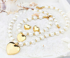 Brand New Stainless Steel Heart With 8MM Pearl Necklace & Bracelet & Earring Set