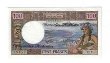 Rare Unc New Hebrides 100 Francs 1975 Signature #2 S/N 00738457