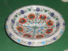 12'' Marble Antique Gemstone Fruit Bowl Floral Stone Multi Inlay Art Decor H3454