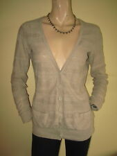 Crew Clothing ~ Long Natural Beige Lacey Knit V Neck Cotton Cardigan ~ Size 8