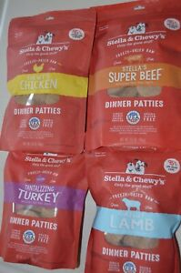 4 Stella & Chewys Freeze Dried Dinner Patties Dog Food Chicken Beef Turkey Lamb