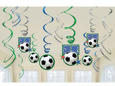 12 x Football Soccer Goal Birthday Party Hanging Swirl Decorations with Cut Out