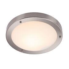 Endon Portico 300mm flush bathroom ceiling light IP44 60W Satin nickel glass