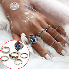 Boho Style 6pcs/Set Women Beach Vintage Tibetan Silver Rings Midi Finger Ring