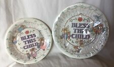 Vintage Creative Papers Bless This Child Baptism 10 Small 10 Large Coated Plates
