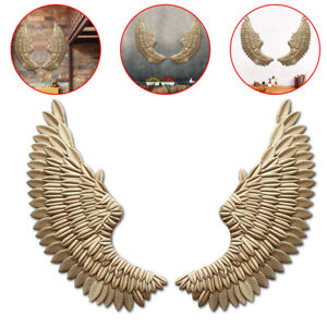 Pair Art Angel Wing Iron Wall Hanger Home Gold Sculpture Wing Decoration Craft