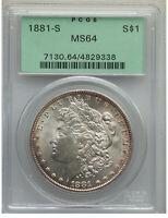 1881-S $1 Morgan Silver Dollar Certified PCGS MS64 SLIGHT TO DEEP BURGUNDY TONES