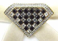 18KGP Diamond Checkerboard Swarovski Element Austrian Crystal Rhinestone Brooch