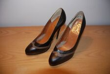 Ladies Vintage 1980s Brown Leather High Heel Stiletto Court Shoes Size UK 4.5