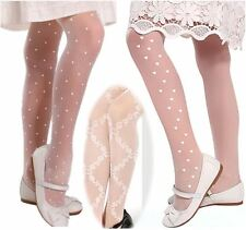 Girls Occasion Tights 20 Denier Hearts Dots Roses Bridesmaid Communion Age 2-13