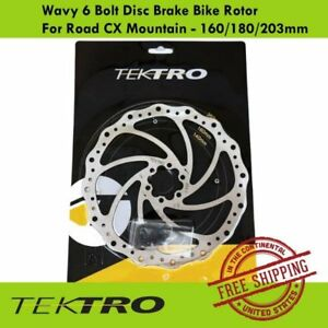 Tektro Wavy 6 Bolt Disc Brake Bike Rotor For Road CX Mountain - 160/180/203mm