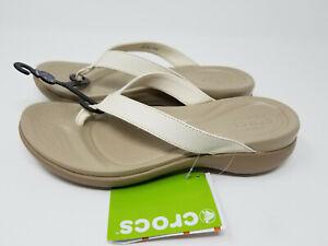 Crocs Capri V Oyster/Tumbleweed 10 Women's Flip Flop Sandal