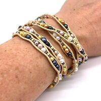 """NAKAMOL Leather Wrap Bracelet White Gold & Pink Beads Button Clasp 35"""""""