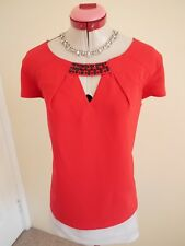 JACQUI E Bright Red Beaded TOP Size 14 BLOUSE Black Desk to Dinner Embellished
