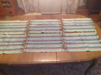 Woven Fabric Placemats Set of 6 Green Pink Blue Striped Fringe Edge Rectangle