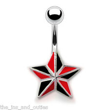 Black & Red Star Belly Ring Pierced Navel Gothic Halloween (w462)