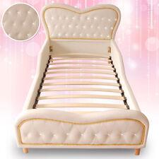 White Heart Kids Girls Boys Standard Single PU Leather Diamond Upholstered Bed