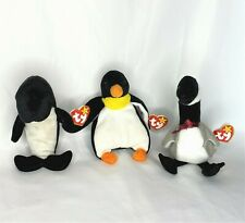 Lot of Retired TY Beanie Babies Loosy (1998) Waves (1996) Waddle (1995) w/ Tags