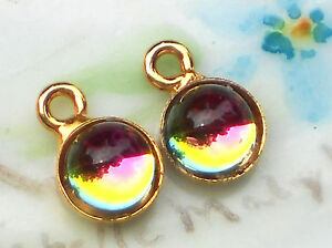 Vintage Charms Iridis Dangles Drops Connectors Findings Glass Drops NOS #1235Z