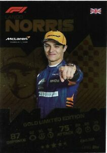 TOPPS TURBO ATTAX FORMULA ONE F1 2021 LANDO NORRIS GOLD LIMITED EDITION LE3G