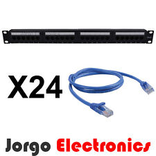 "19"" Inch 1RU CAT6 24 Port Patch panel & 24 CAT6 Patch Cables (1.0m)"