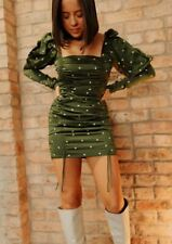 Long Sleeve Green Party Dress