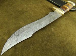 "MASSIVE 15"" HANDMADE DAMASCUS STEEL HUNTING BOWIE KNIFE W/SHEATH (4781-23"
