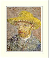 Van Gogh Self Portrait with Straw Hat 10 x 8 Inch Mounted Art Print