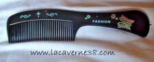 Peigne à cheveux fantaisie à poignée coiffure coiffeur plastique Noir décoré