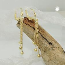 333 Gelbgold Damen Ohrringe Hänger Brisur 3 Kettchen mit Kugel 8Kt GOLD