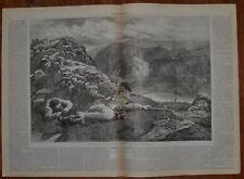 Deer Stalking In Scottish Highlands. Huge Wood Engraving. 1876