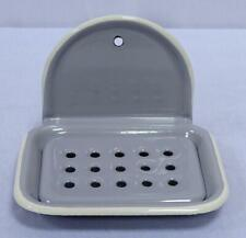 Enamel Soap Dish, Nostalgia Soap Tray to Hang, Pastel Grey