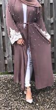 mauve open abaya pearl white islam