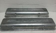 1955-59 CHEVY CORVETTE 7 FIN STAGGERED BOLT FACTORY VALVE COVERS 3726086