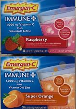 30 Pack Emergen-C Immune Plus 1000 mg Vitamin C Vitamin D & Zinc Supports Immune