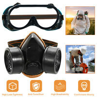 Full Face Double Filter Respirator Mask Air Breathing Chemical Gas Protection US