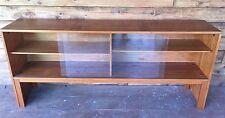 Mid-Century Credenza Bookcase Made in Denmark w/ Shelves & Glass Sliding Doors