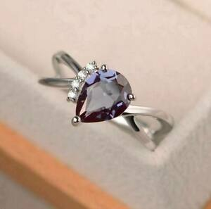 2Ct Pear Cut Alexandrite Diamond Solitaire Engagement Ring 14K White Gold Finish