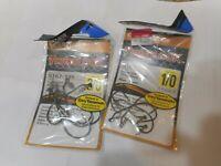 2 Owner TwistLock Light Strong Shank Hooks Black Chrome sz 3/0 & 1/0