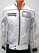 vtg CORVETTE STYLE AUTO White Windbreaker SMALL 80s Racing Jacket racer vette S