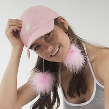 PINK fluffy pompom dangle drop fashion earrings - silver plated chain