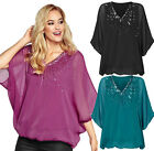 Ladies Sequin Top UK Size 8 - 14 Batwing Embellished Tunic