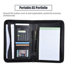 Black Business Pu Leather Padfolio Portfolio Calculator Organizer Folder Memo A5