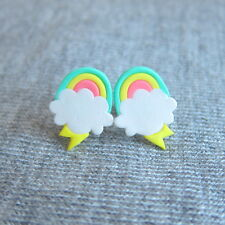 handmade rainbow cloud retro kawaii funny summer fashion colorful stud earrings