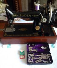 Vintage Singer Sewing Machine 99k With Suitcase And Black Tin Accessories 1950