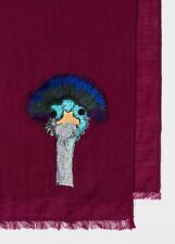 Paul Smith Burgundy Wool Animal / Ostrich Embroidery Scarf - Brand New